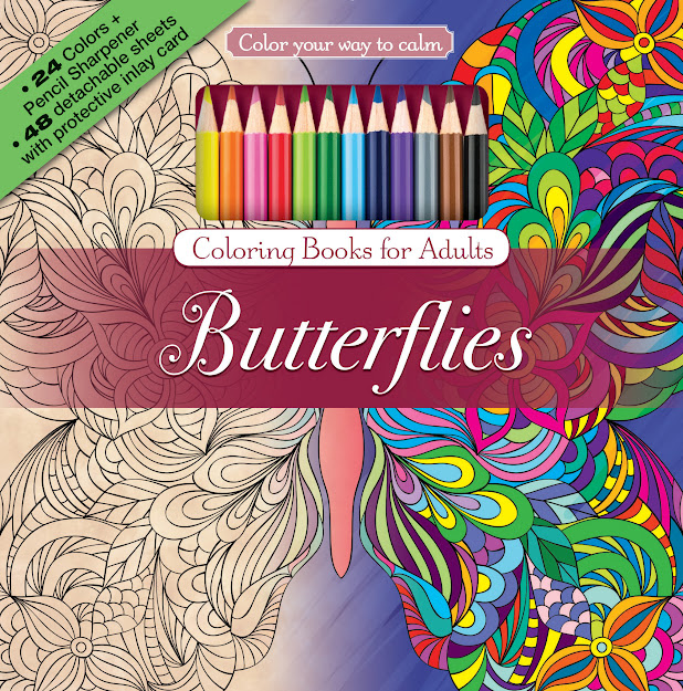 Butterflies Adult Coloring Book With Colored Pencils Cover