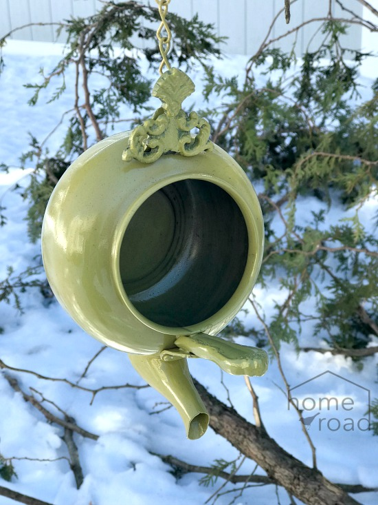 DIY Repurposed Green Teapot Birdhouse