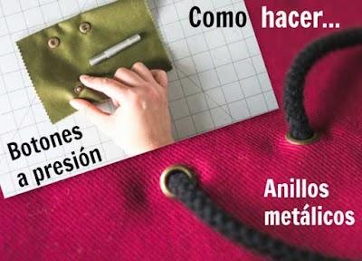 Agujeros con anillos metálicos y botones a presión en telas o prendas con tutoriales