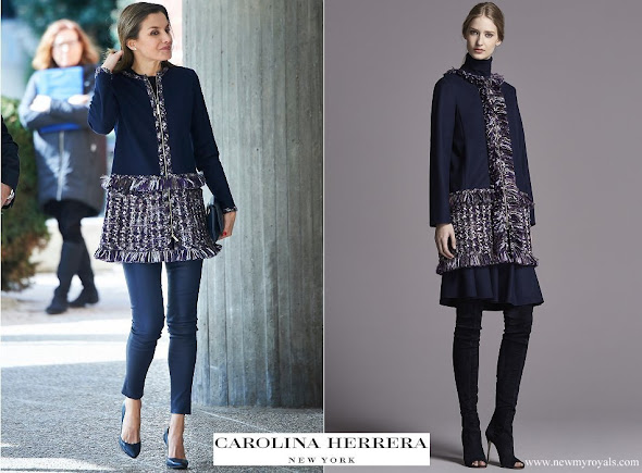 Queen Letizia wore CH Carolina Herrera coat from Fall-Winter 2015 Collection