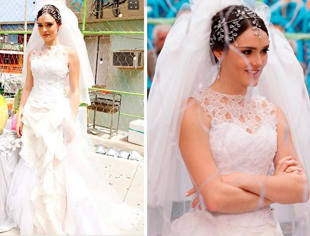 Isabelle Drummond como Cida, vestido de noiva, Lethicia Bronstein