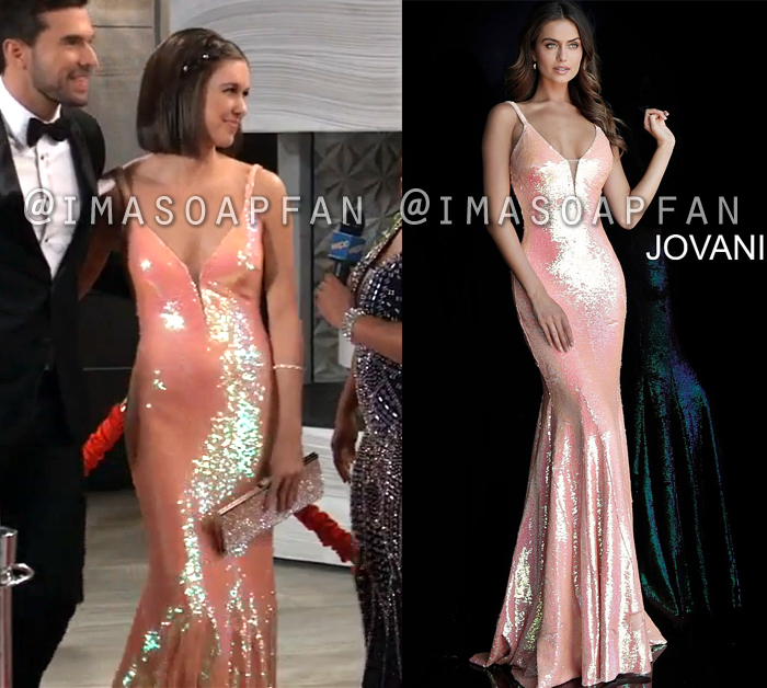 Willow Tait, Katelyn MacMullen, Coral Pink Sequin Gown, Nurses Ball, General Hospital, GH