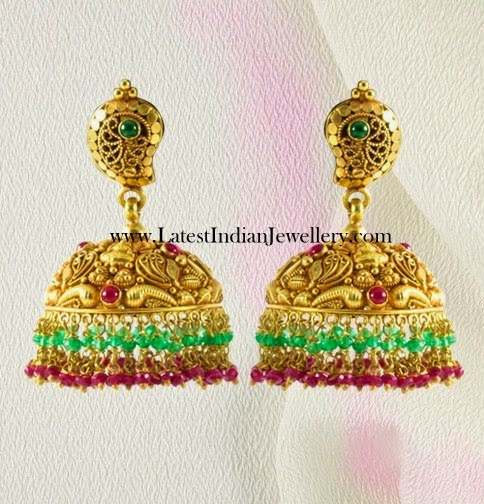 Antique Jhumkas with Ruby Emeralds