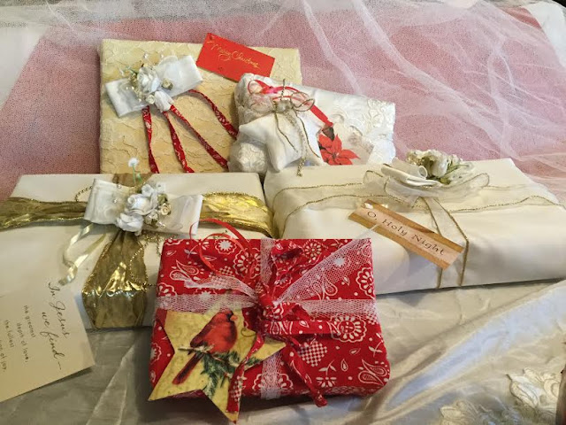 Homemade fabric gift wrap