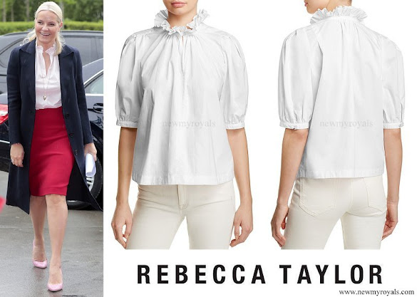 Crown Princess Mette-Marit wore Rebecca Taylor Poplin Ruffle Collar Blouse