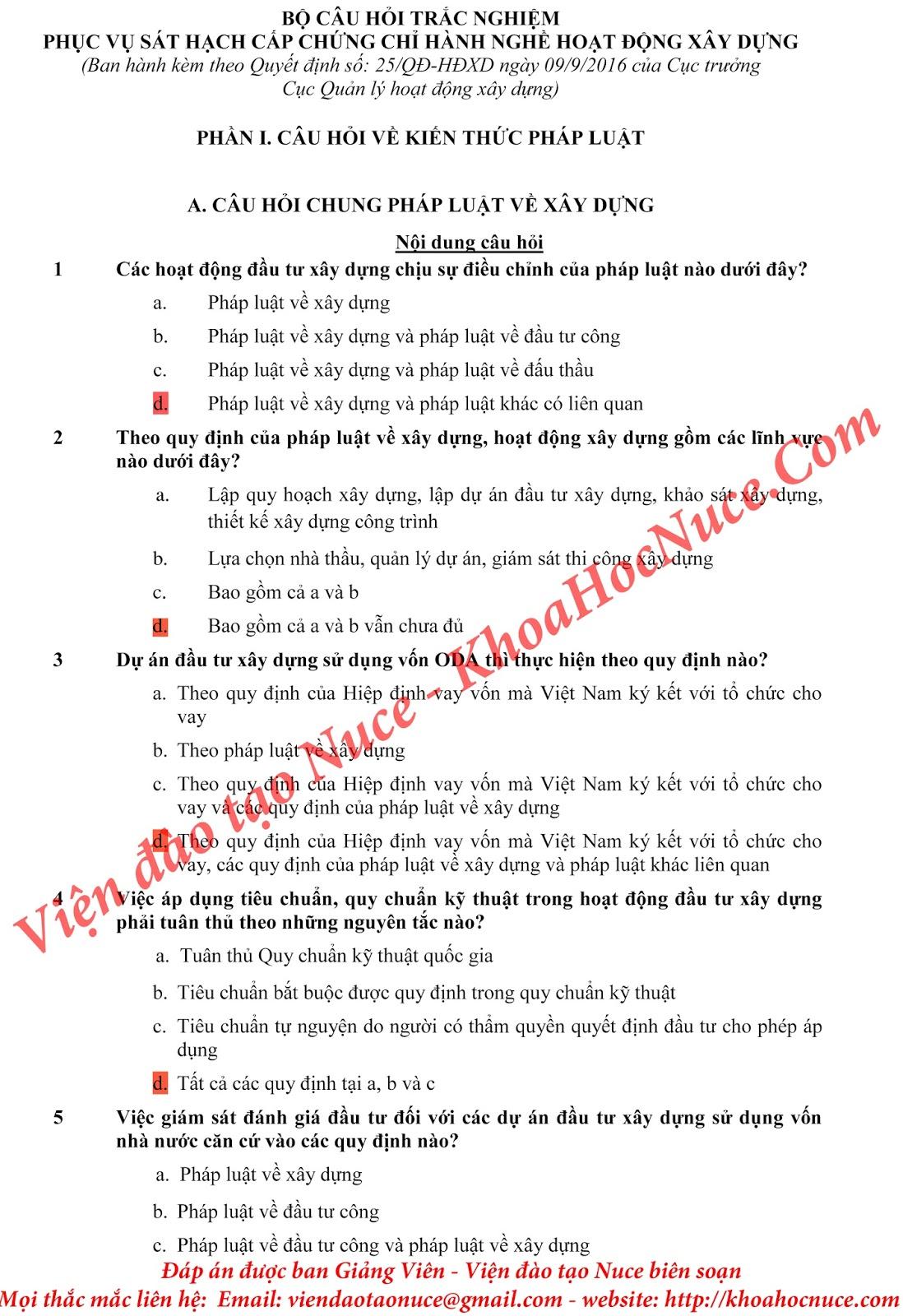 Bộ đề thi chứng chỉ hành nghề xây dựng theo Quyết định số 894/QĐ-BXD