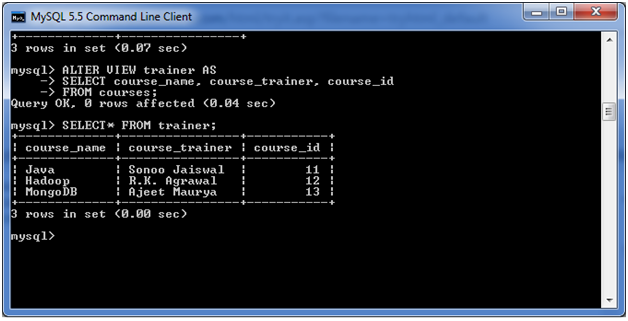 MySQL VIEW