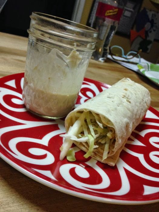 Spicy lentil wrap with tahini sauce (A copycat of the expensive wrap you can buy at Trader Joes)