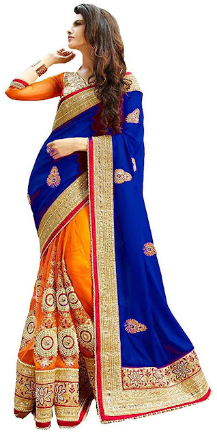 Winza Designer Saree with Blouse Piece - Best selling georgette saree amazon below 1300