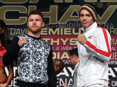 foto face to face  Saul Alvarez  vs Julio Cesar Chavez Jr