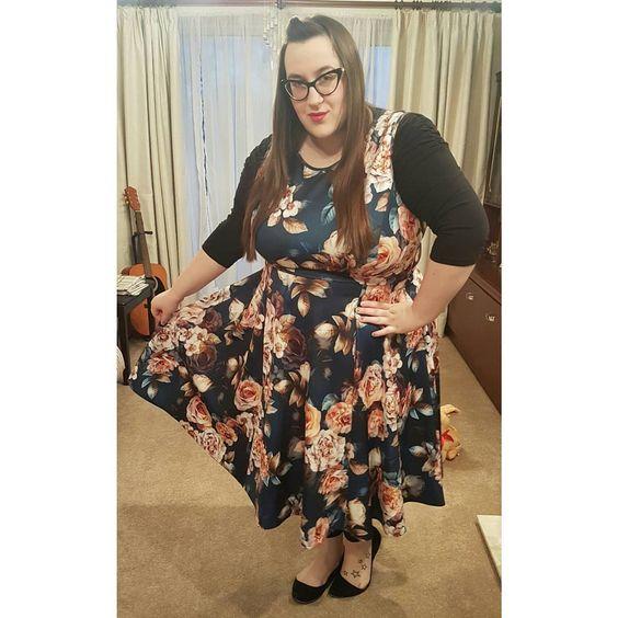 plus size Lady V London Indigo Rose Hepburn Dres