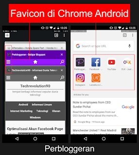 Tampilan favicon di Chrome Android