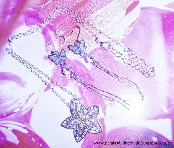 brincos, borboleta, colar, estrela, flor, prateado, bijuterias