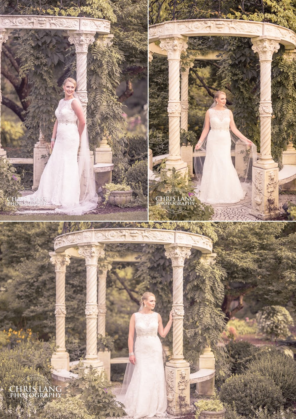 Picture of Bride in wedding dress a the Arboretum in Wilmington NC - Bridal Portraits - Bridal Picture Ideas