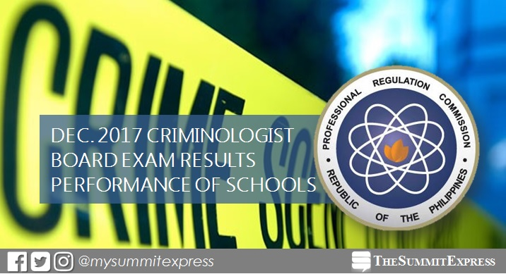 December 2017 Criminologist board exam CLE result