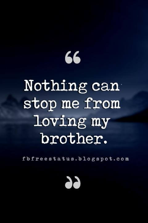 quotes for brother, Nothing can stop me from loving my brother.