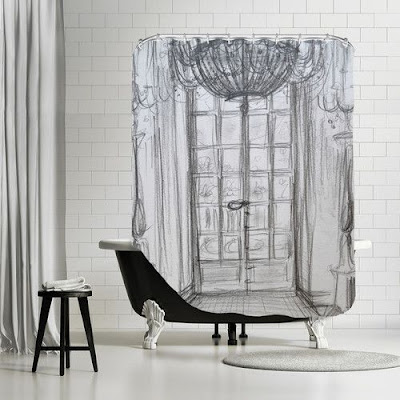 3D shower curtain designs for minimalist bathroom