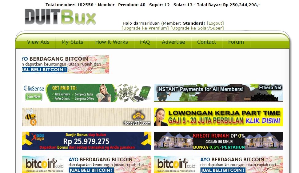 Cara menghasilkan uang dari PTC DUIT BUX