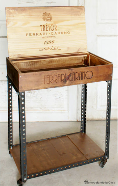 how to build a side table using a wine crate and metal slats