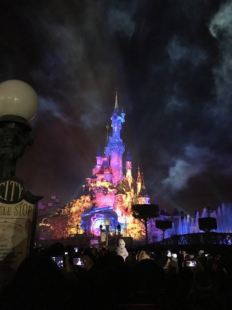 The castle lit up for illuminations