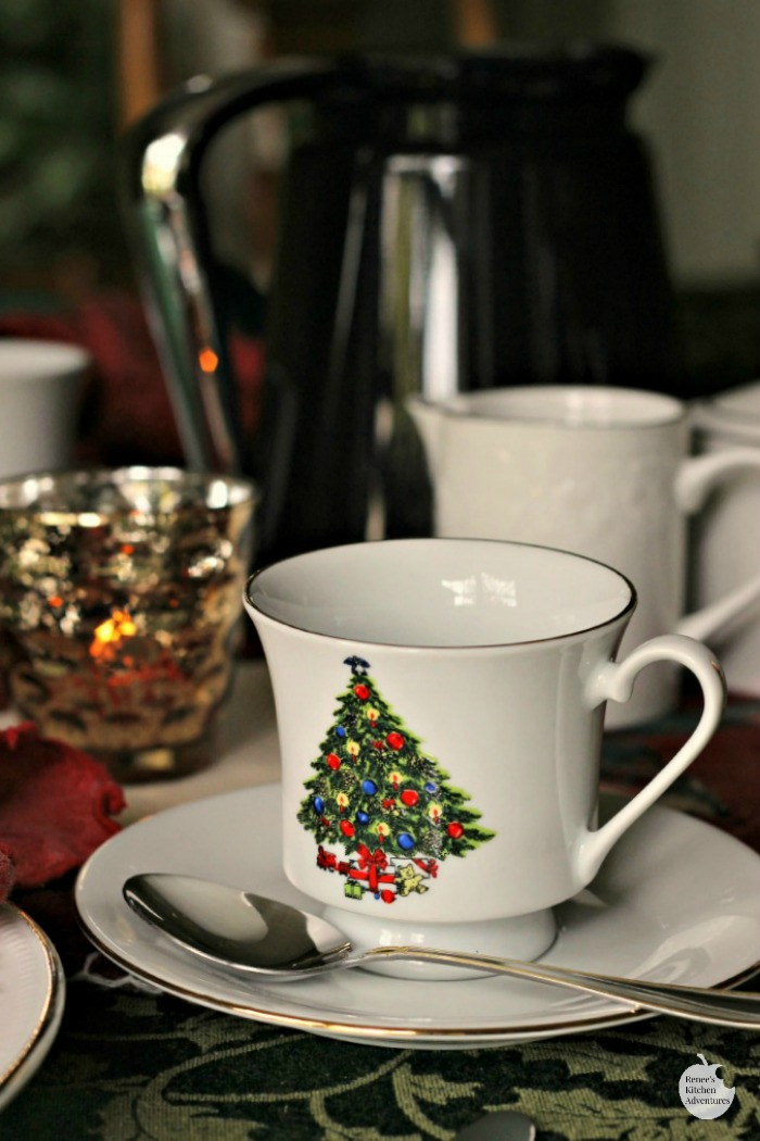Make Ahead Christmas Morning Breakfast Casserole Christmas place setting with coffee cups