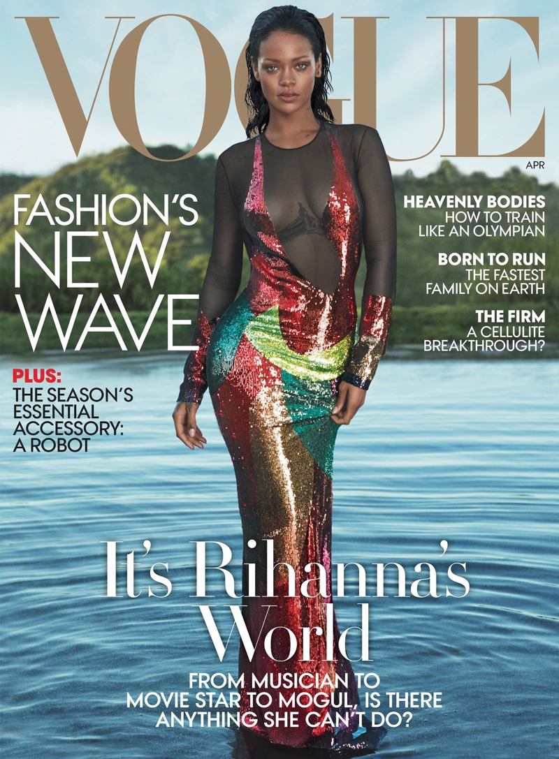 Rihanna goes glitzy for Vogue US April 2016