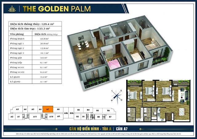 Mặt bằng căn A7 tòa A chung cư The Golden Palm