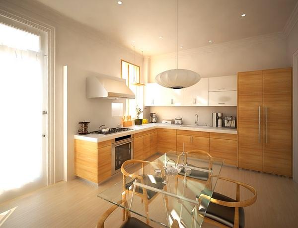 Dapur putih bersih dengan partisi kayu dan meja berkaca
