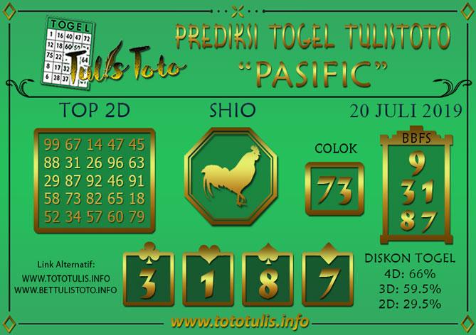 Prediksi Togel PASIFIC TULISTOTO 20 JULI 2019
