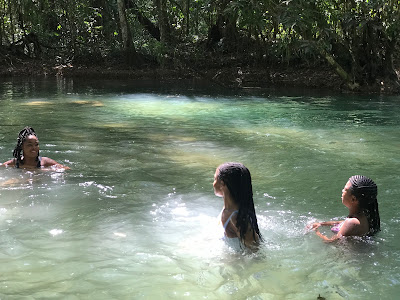 three girls, swimming in the river at ys falls, Chevy Takes The Mic Jamaican Travel Blog Series Adventures in St. Elizabeth Jamaica, things to do in Jamaica