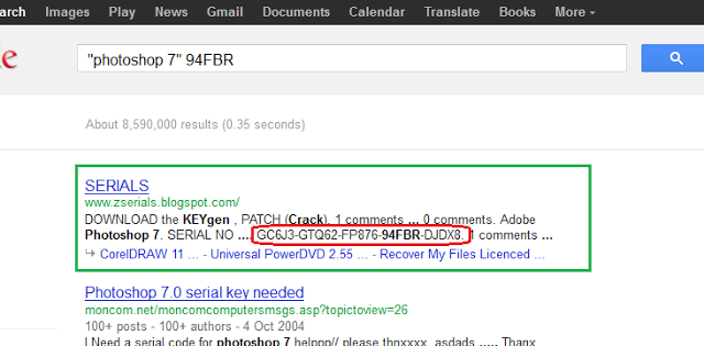 google trick to find serial key