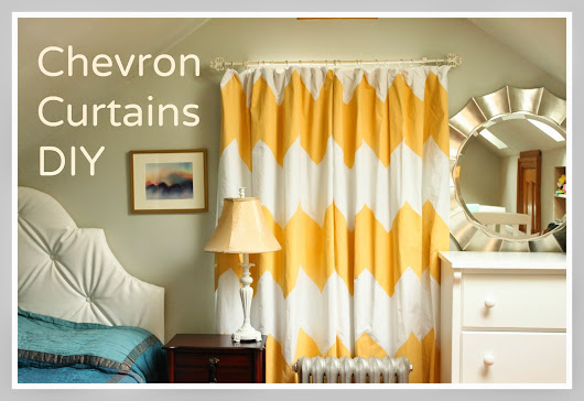 Yellow Chevron Curtains 3: Paint and Hang