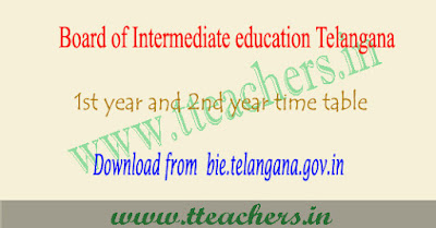 TS Inter time table 2019, 1st 2nd year exam schedule telangana