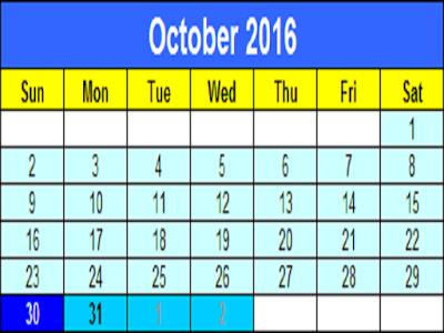 Diwali Date Calender 2016