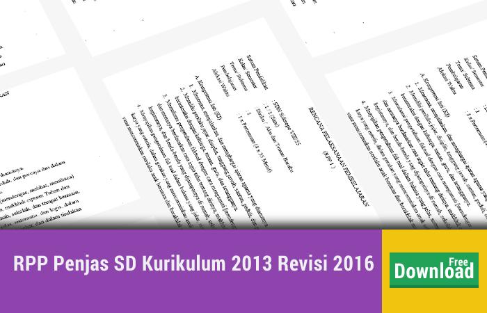 RPP Penjas SD Kurikulum 2013 Revisi 2016