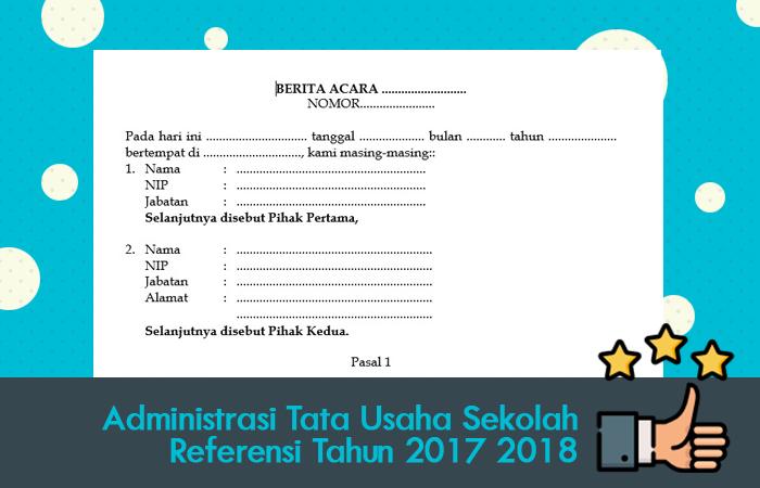 Administrasi Tata Usaha Sekolah Referensi Tahun 2017 2018