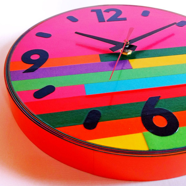 brightly colored paper clock