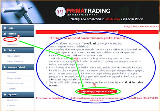 Gambar dan Penjelasan Cara Deposit Dana Akun Trading melalui PrimaTrading
