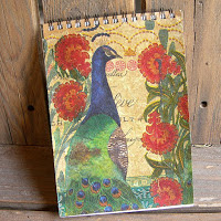 Craft Notebook Cover Project with Peacock and Flowers