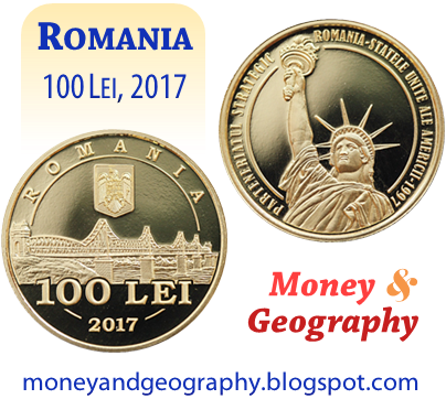 Romania 100 Lei coin from 2017, celebrating bilateral relations of Romania and the United States