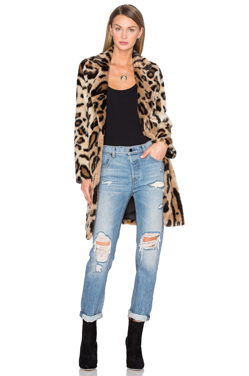 House of Harlow 1960 x REVOLVE 'Genn' Faux Fur Leopard Print Coat