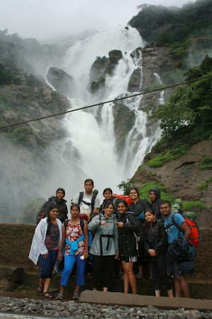 Group photo at Dudhsagar water falls