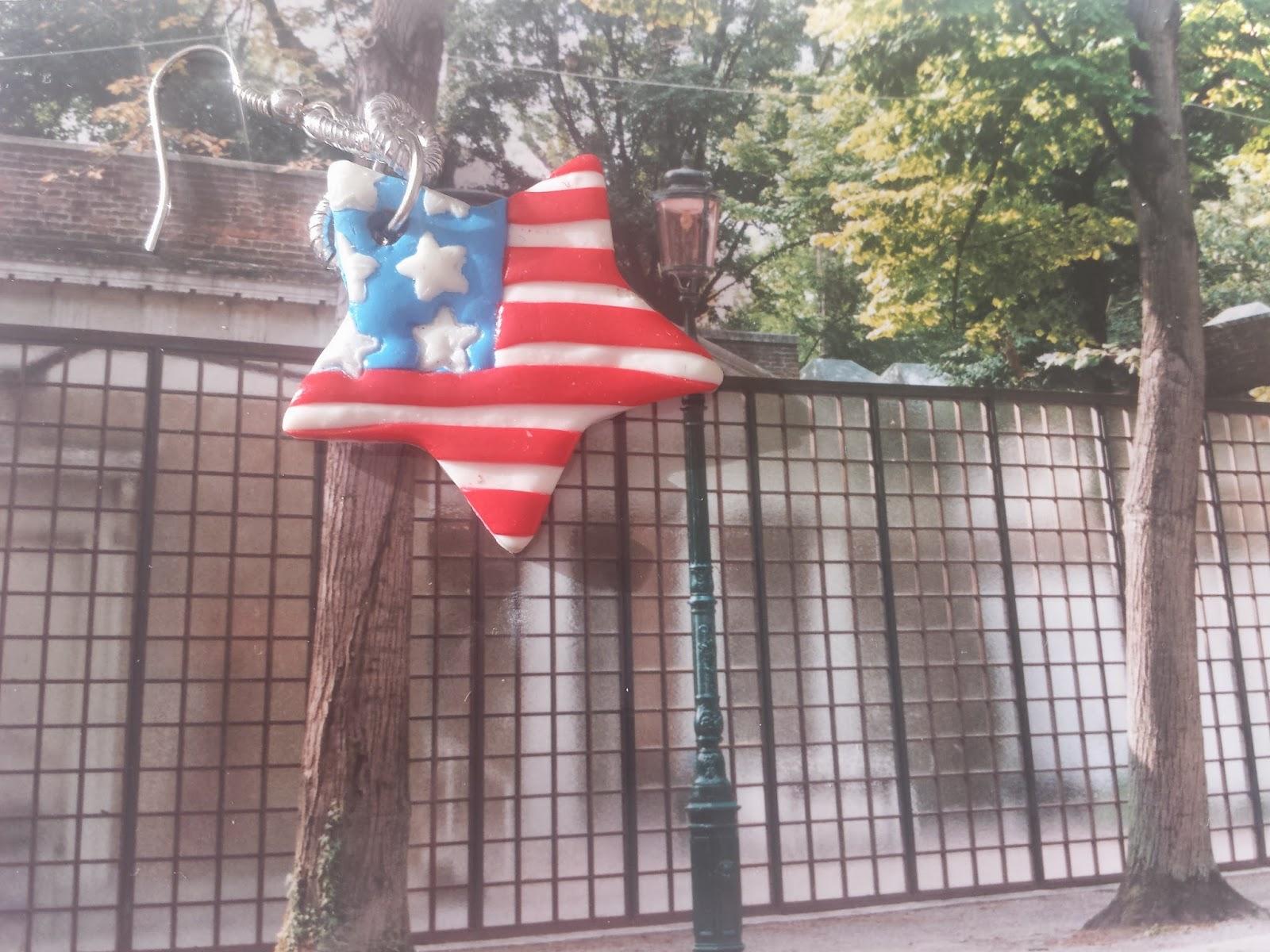 Biennale Padiglione Stati Uniti Orecchino Bandiera in Fimo