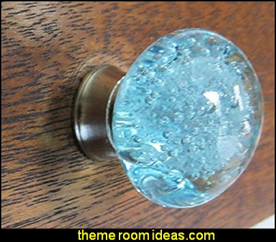 Aqua Blue Bubbles Glass Dresser Drawer, Kitchen Cabinet or Door Knob Pulls