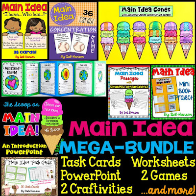 Main Idea Bundle of Activities: Everything you need (and possibly more!) for a 4th-6th grade main idea unit! Main idea worksheets, craftivities, games, and more!