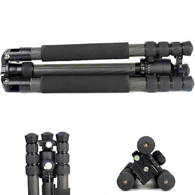 Sunwayfoto FB-36 mounted on Sirui N2204 Carbon tripod side-top-front leg view