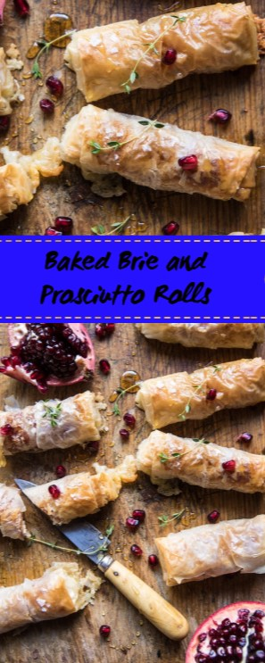 Baked Brie and Prosciutto Rolls #christmas #appetizer