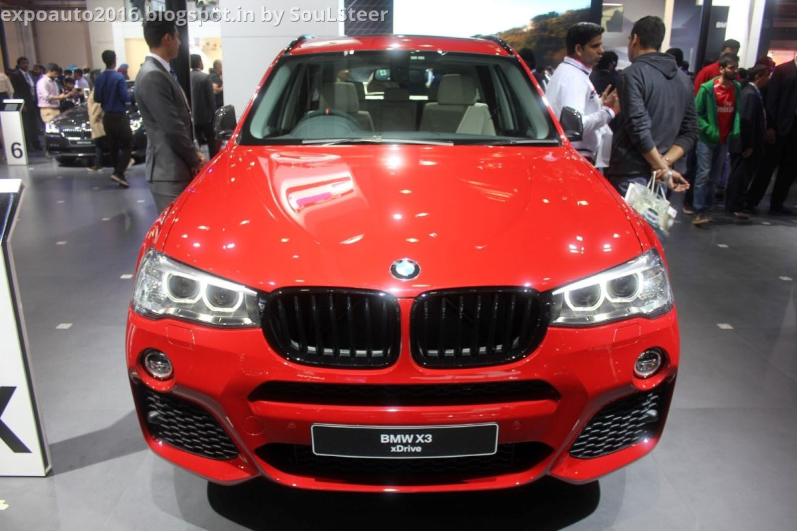 Red BMW X3 XDrive20d XLine Compact Luxury Crossover SUV On Display At Auto Expo 2016