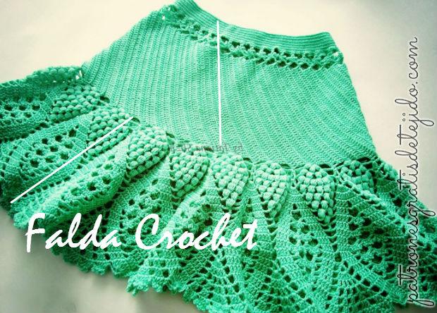 Falda Acampanada Crochet / Patrones y moldes | Crochet y Dos agujas ...