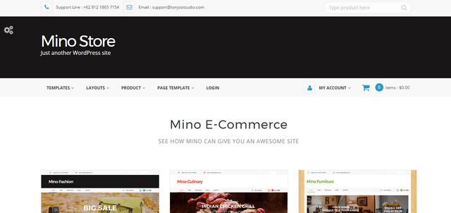 Mino Online Store Responsive Wordpress Themes